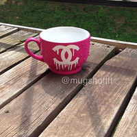 Pink and white Logo Mug