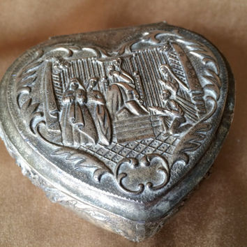 Silver Trinket Box, Religious Theme, Heart shaped, Mary and Jesus, Silver plated Metal, Ornately detailed, Red Velvet Lined, footed heart