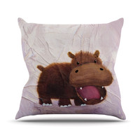 "Rachel Kokko ""The Happy Hippo"" Outdoor Throw Pillow"