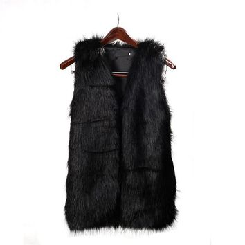 """Black Fur Vest"" (With Pockets)"