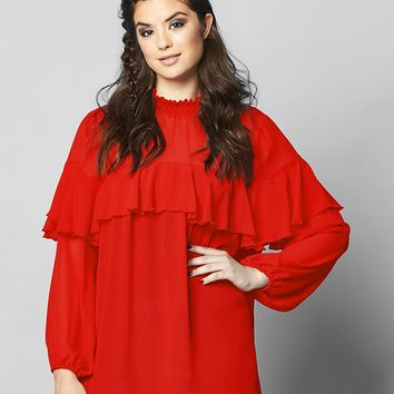 Simply Be High Neck Ruffle Blouse | SimplyBe US Site