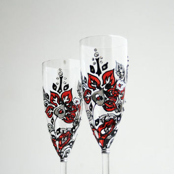Hand Painted Wedding Champagne Glasses Floral Design Red Black Silver Swarovski Crystals set of 2
