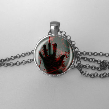 Bloody Hand Print Creepy Cute Jewelry Scary Gothic, Goth Jewelry, Dark