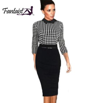 Top Grade Women Celebrity Style Turn-Down Collar Classic Plaid Tunic Formal Office Evening Party Stretch Bodycon Pencil Dress