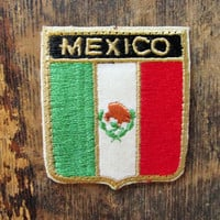 Vintage Mexico Mexican Flag Badge Patch