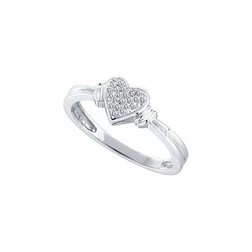 10kt White Gold Womens Round Diamond Heart Love Cluster Ring 1/12 Cttw