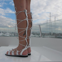 "High knee Gladiator sandals, White leather sandals ""Artemis"" ARTS04"