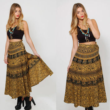 Vintage 70s ETHNIC Wrap Skirt BOHO Festival Skirt Indian ELEPHANT Print Maxi Skirt Cotton Hippie Skirt
