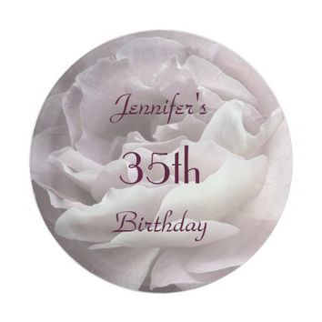 Pale Pink Rose Paper Plates, 35th Birthday Party Paper Plate