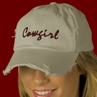 Cowgirl Embroidered Stone Ball Cap Womens Torn Embroidered Baseball Cap from Zazzle.com