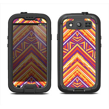 The Red, Yellow and Purple Vibrant Aztec Zigzags Samsung Galaxy S3 LifeProof Fre Case Skin Set