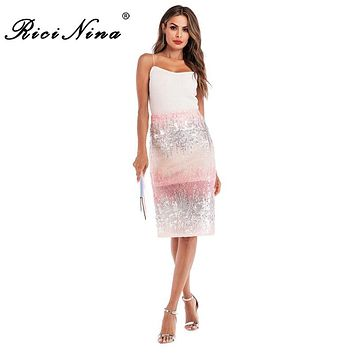 RICININA New Summer Women Skirt High Waist Midi Pencil Skirts Womens Sexy Sequins Slit Gradient Skirt Casual Skirts For Women