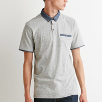 Chambray-Trimmed Polo