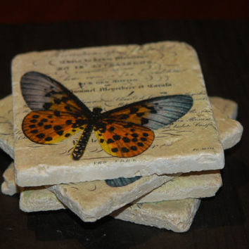 Vintage style coaster. Butterfly Stone Tile coaster. French Style. Travertine stone tile. Natural stone tile coaster. European coaster.