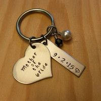 Hand Stamped Mother of the Bride Keychain - Mother of the Groom Keychain - Wedding Gift - Bridal Party Gift