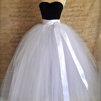 Full length sewn unlined tulle skirt. Weddings and formal wear for girls or women.