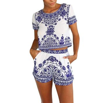 White and Blue Women's Short Sleeve Crop Top with Matching Shorts!!   Very Pretty and Unique!!   Great Little Summer Outfit!!    Available in S-XL.   ***FREE SHIPPING***