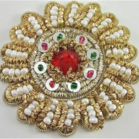 """Flower Bullion Thread with  Beads and Stones 2.5"""""""
