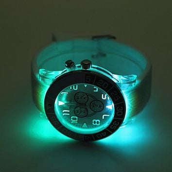Geneva Pin time Woman Men Fashion Luminous LED Light Quartz Movement Watch