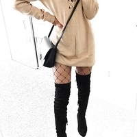 Lace-Up Sweater Dress