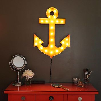 "24"" Anchor Vintage Marquee Lights Sign (Rustic)"