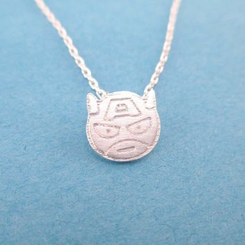 Chibi Captain America Shaped Charm Necklace in Silver | Super Hero Jewelry