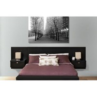 Prepac Series 9 Designer Wall Mounted Headboard System with 2 Nightstands in Black