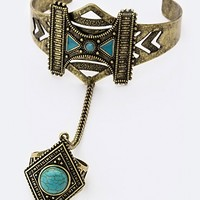 TRIBAL TURQUOISE PALM RING