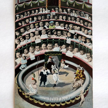 Antique Postcard Children's Circus- Hand Tinted Made in Germany- Victorian / Edwardian Era Photographs of Babies Playing Under the Big Top