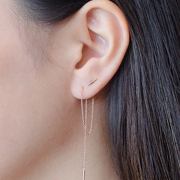 Rose Gold Threader Earrings, Long Gold Chain Earrings, Delicate Chain Stick Earrings, Minimalist Edgy Jewelry, Hand Made, Gift for Mom,EA024