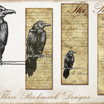Raven PRINTABLE bookmark digital painting art, bookmark design gift, ink raven on old paper texture for book