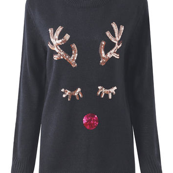 Women Christmas Long Sleeve Sequined Moose Pullover Knit Sweater