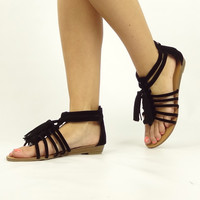 """Harris"" Suede Tassel Gladiator Sandals - Black"