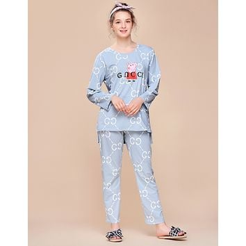 GUCCI x Peppa Pig co-branded women's autumn and winter models long-sleeved pajamas two-piece F0877-1 light blue
