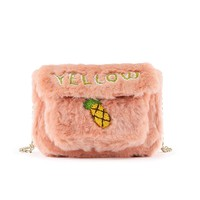 Fuzzy Yellow Shoulder Bag