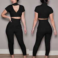 Black V-neck Short Sleeve Bodycon Cropped Top and Pants Set