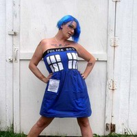 POLICE BOX party dress Halloween Cosplay TARDIS inspired Doctor Dr Costume Who