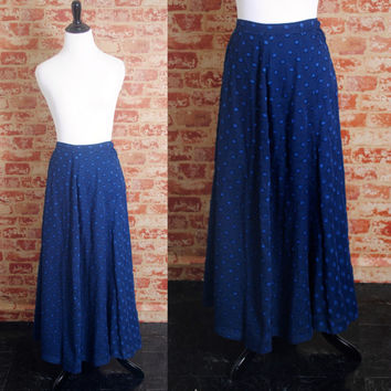 Vintage 1950s Navy Blue POLKA DOT High Waist  Cotton Full Circle Skirt Side Metal Zipper Full Maxi Skirt