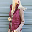 Zen Spell Burgundy High Neck Padded Vest With Removable Hood