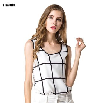 Hot Sale 2016 New Brand Summer Women Tanks Casual Fitness Sleeveless Loose Tank Top T-shirt Fashion Feminina Plaid Chiffon Blusa