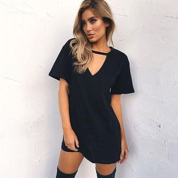 LMFHQ9 Hot Sale Strong Character V-neck T-shirts Sexy Slim One Piece Dress