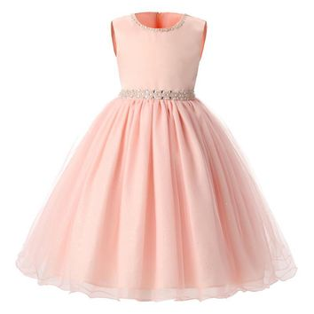Pink Baby Girl Wedding Dress Tutu Tulle Kids Prom Gown Designs Girl Children Princess Costume Dressess For Girl Size 3-8 Year