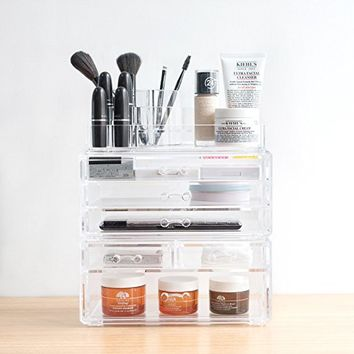 TWING Premium Acrylic Makeup Jewelry Organizer Clear 9.3x5.3x11.3 inches Cosmetic Storage Thick and Crystal Acrylic