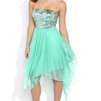 Sequin Bodice Strapless Dress with Glitter Tulle Uneven Hanky Hem