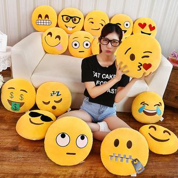 QQ Emoji Decorative Throw Pillow Stuffed Smiley Cushion Home Decor For Couch Chair Toy 35cmx35cm Emotional Smile Face Doll