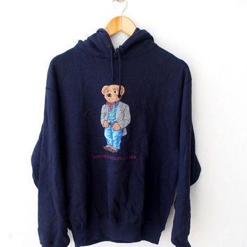 BIG SALE 25% Vintage 90's POLO Ralph Lauren Usa Bear Casual Wear Blue Hoodie Sweater Sweatshirt Jacket Size M Hip Hop
