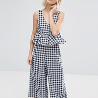 Lost Ink Frill Jumpsuit In Gingham at asos.com