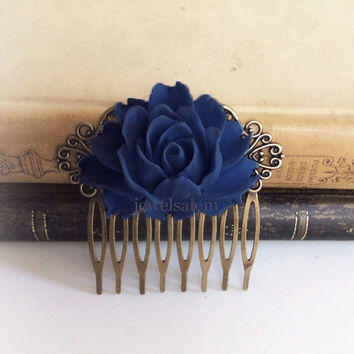 Navy Blue Wedding Comb Sapphire Blue Hair Accessories Bridal Big Flower Comb Dark Blue Bridesmaids Hair Slide Gift Large Rose Hair Pin