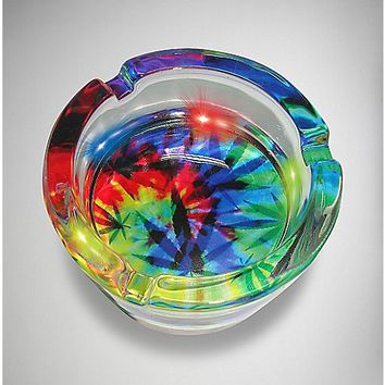 LED Tie Dye Leaf Ashtray - Spencer's