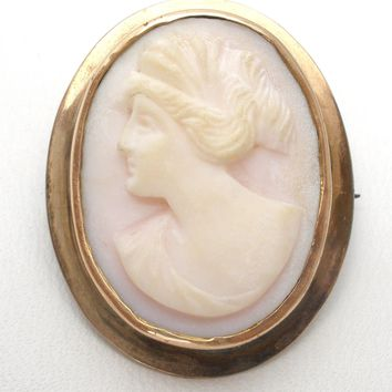 Victorian 10K Gold Pink Coral Cameo Pendant Brooch